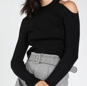 NWT Open Shoulder Rib Long sleeve